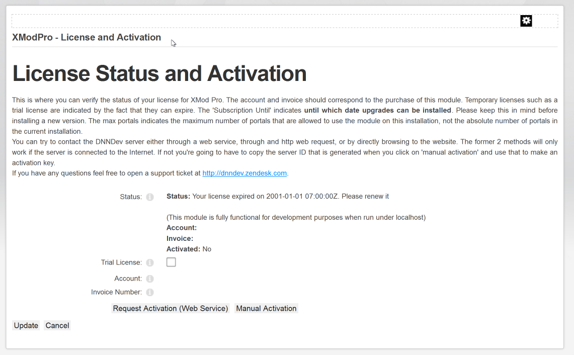 License Status and Activation page