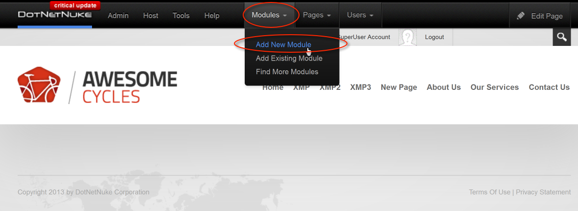 Select Add New Module