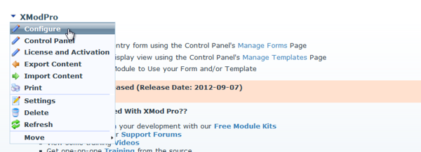 XMod Pro Configure Menu in DNN 5