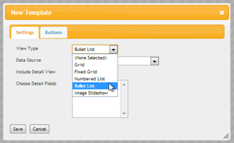 Select Bullet List View Type