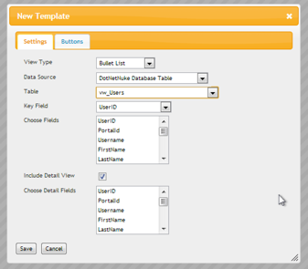 New Template Dialog with vw_Users selected