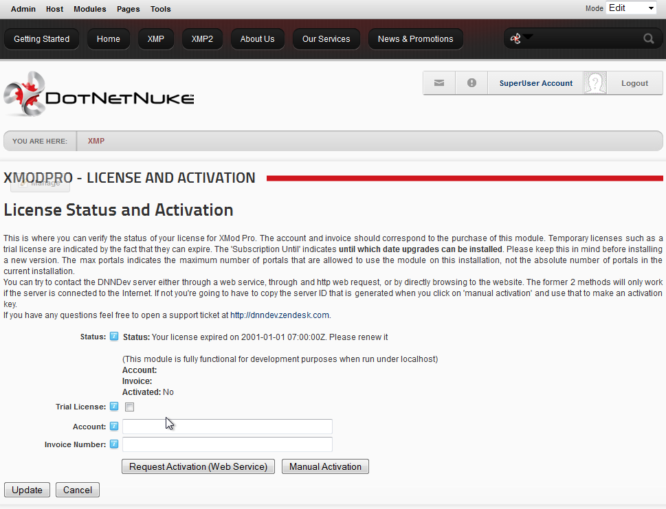 DNN 6 License and Activation Page