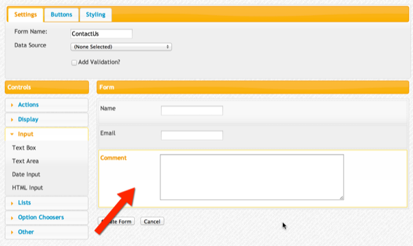 Form canvas with Name, Email, and Comment controls