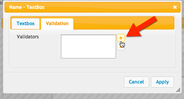 Click the plus icon to add a validator