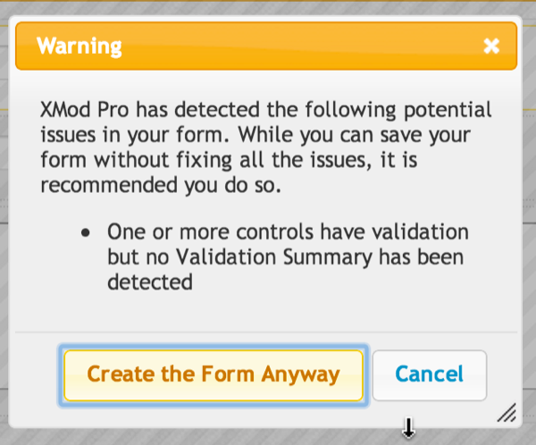 No Validation Summary Warning