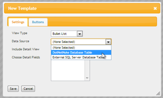 Select DotNetNuke Database Table Data Source